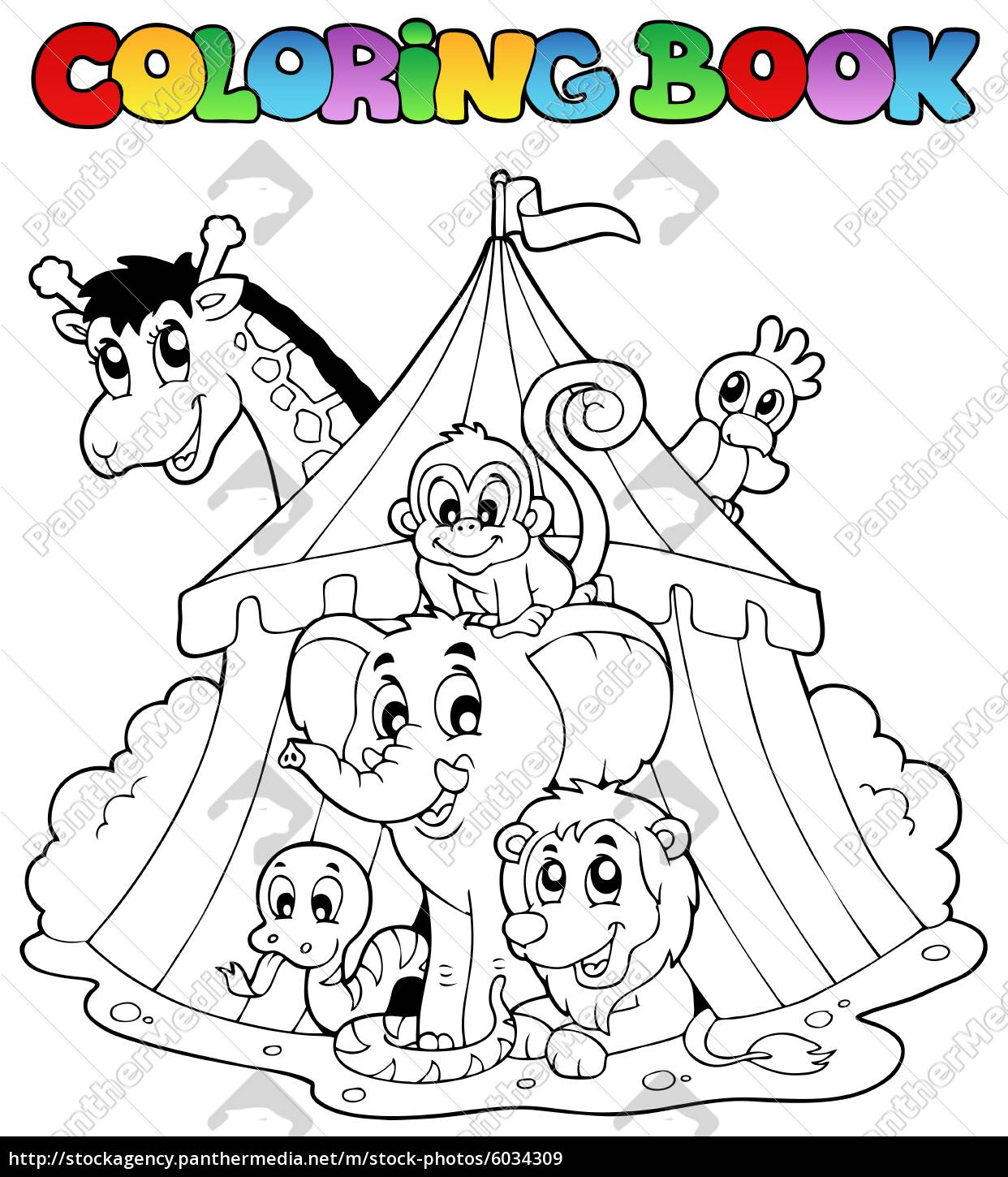 coloring, book, animals, in, tent - 6034309