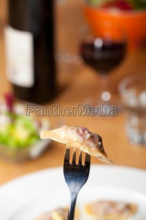 fresh ravioli on a fork