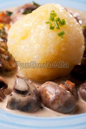 bavarian mushroom sauce with potato dumplings