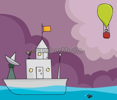 ship and balloon