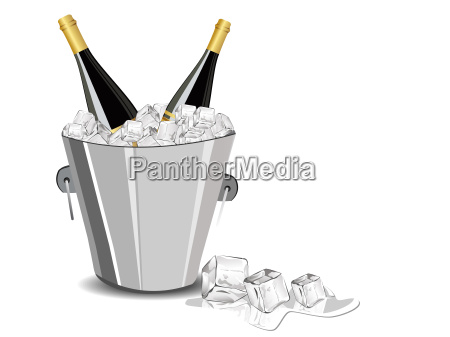 vector illustration with champange bottle ice