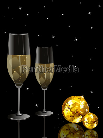 party night background with discoball wine