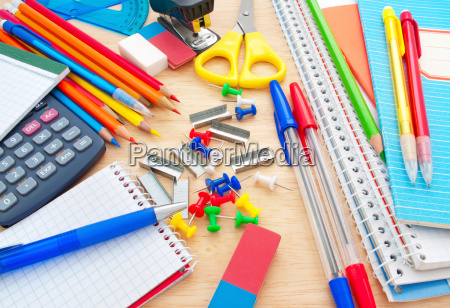 school equipment on writing desk