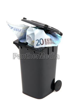 european, bank, notes, in, black, rubbish - 6079107