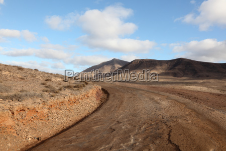 country road on canary island lanzarote