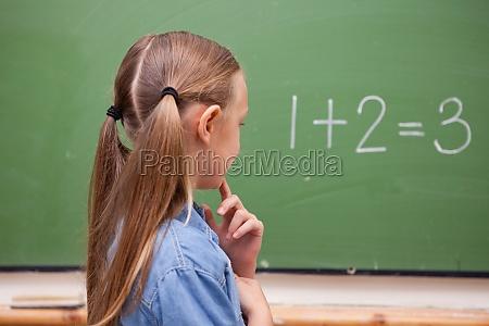 little schoolgirl thinking