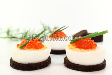 canape with egg