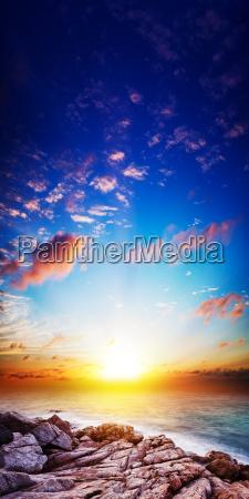 amazing sunset scene long exposure shot