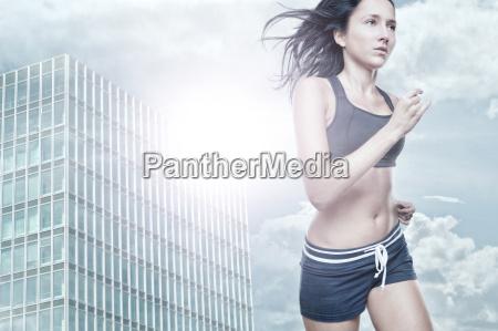 woman running at