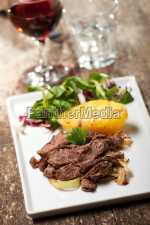 beef steak on a plate with