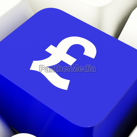 pound symbol computer key in blue