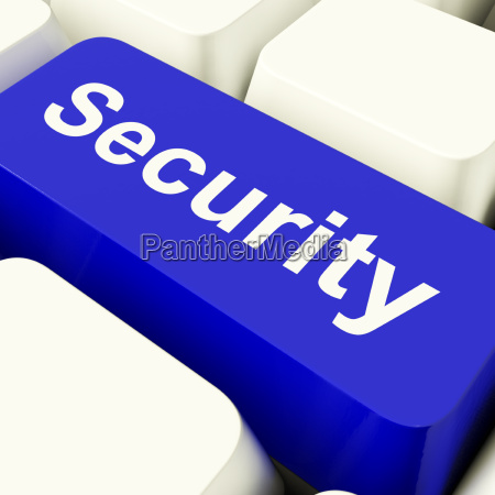 security computer key in blue showing