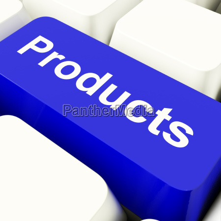 products computer key in blue showing