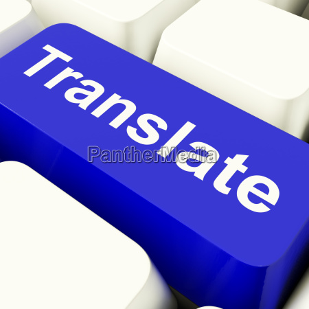 translate computer key in blue showing