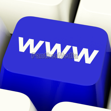 www computer key in blue showing