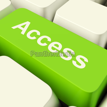 access computer key in green showing