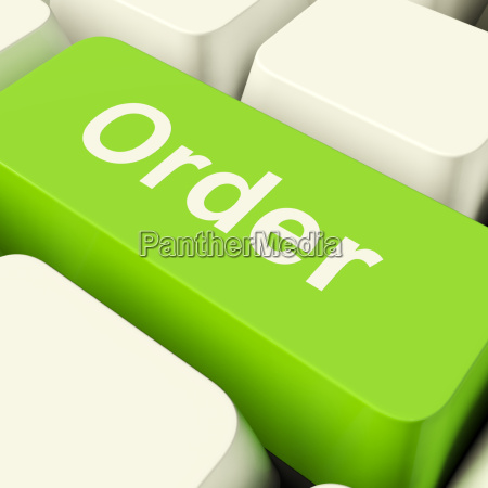order computer key in green showing