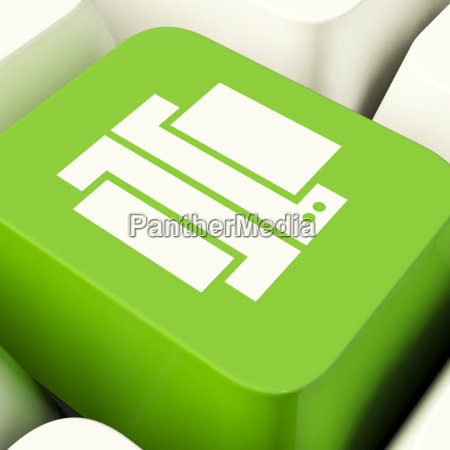 print computer key in green showing