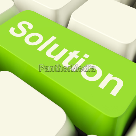 solution computer key in green showing