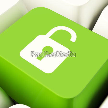 unlocked padlock computer key in green