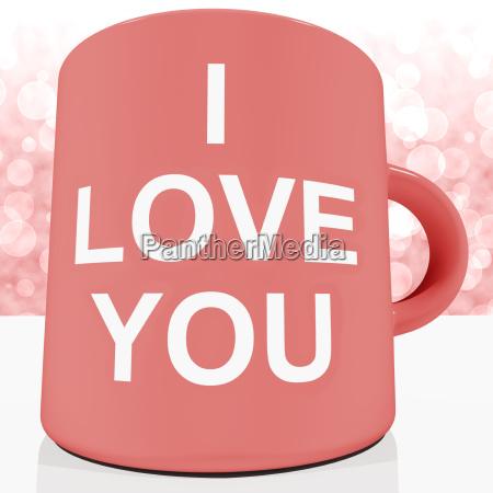 i love you mug with bokeh