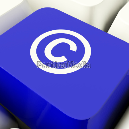 copyright computer key in blue showing