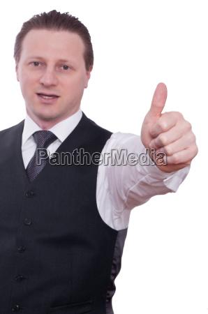 businessman with thumb keeps his thumb