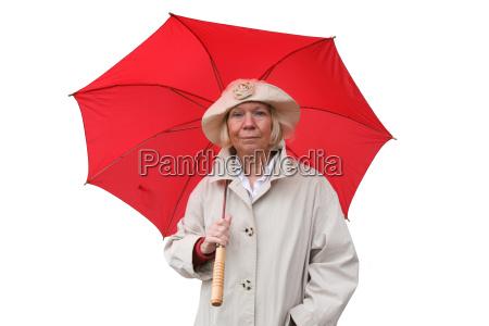 senior with umbrella