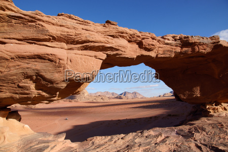 stone bridge in wadi rum desert