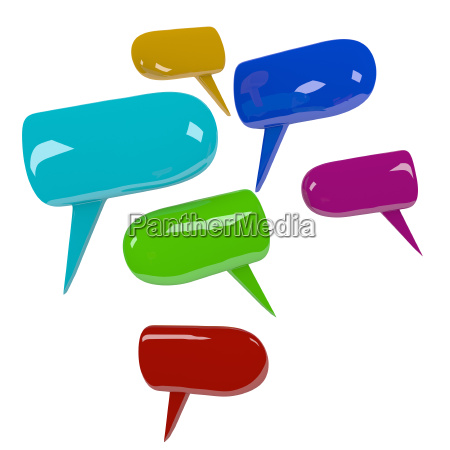 colorful speech bubbles isolated on white