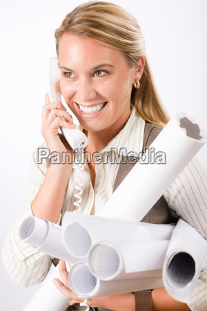 young female engineer on phone carry
