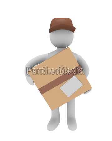 cheerful parcel deliverer isolated on white