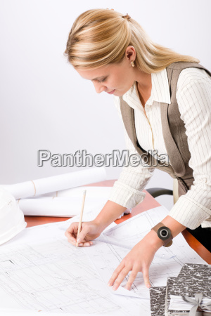 architect, woman, sketches, office, with, blueprint - 6155314