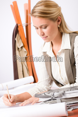 architect, woman, sketches, office, with, blueprint - 6155320