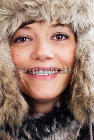 pretty woman with fur hat