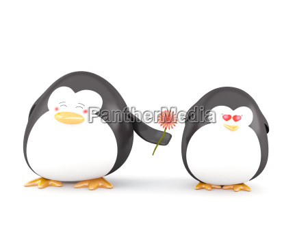 penguin in love