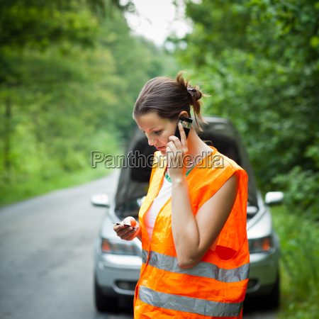 young female driver having a car