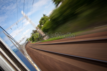 railroad seen from a fast moving