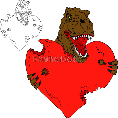 t rex with heart