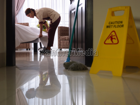 maid at work and cleaning in
