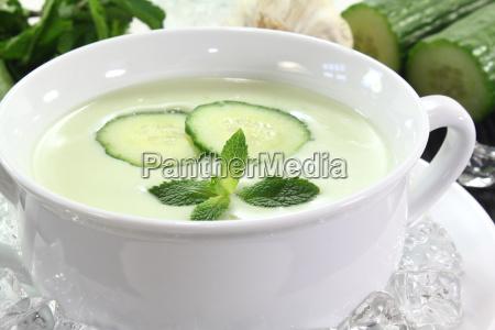 cucumber mint garlic pottage ice cream