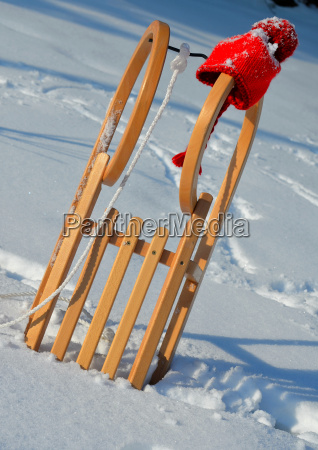 sled in the snow in winter