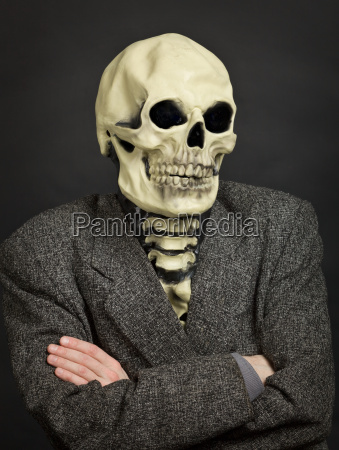portrait of person in skeleton mask