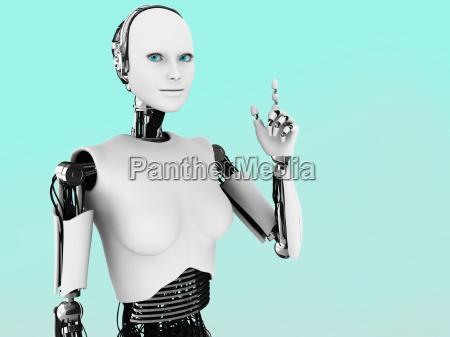 robot woman having an idea