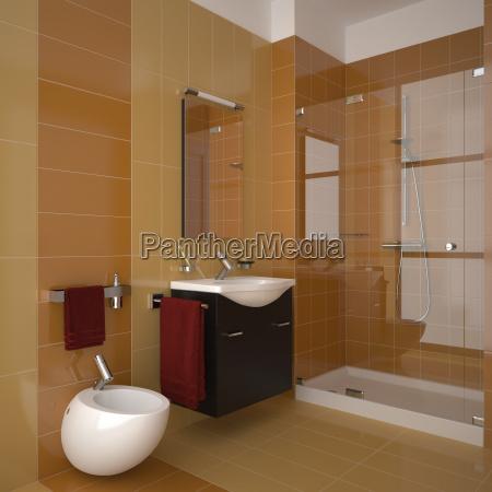modern bathroom with orange tiles