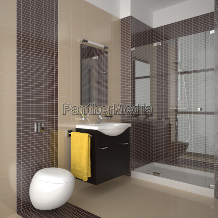 modern bathroom with beige and brown
