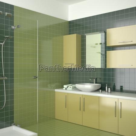 modern bathroom with green tiles