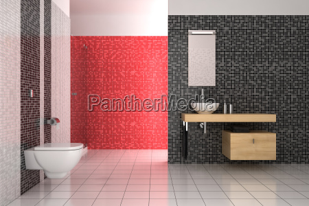 modern bathroom with black red and