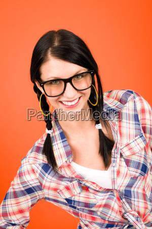 crazy girl wear nerd glasses smiling