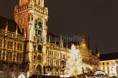 night nighttime sights bavaria town hall